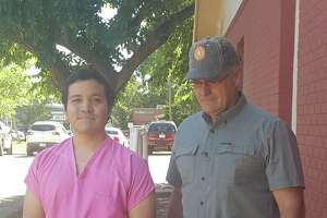 Chris Estrada, seen here on the left, pleaded no contest to a felony charge of tampering with evidence in the case of Zuzu Verk on April 20, 2018.