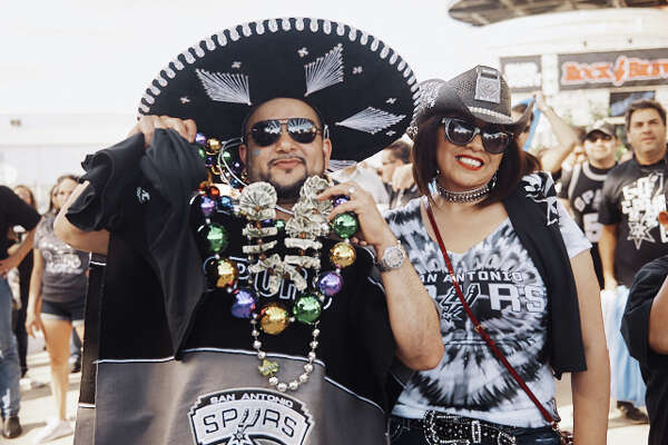 Fans celebrate the Spurs' game four win against the Golden State Warriors on Sunday, April 22, 2018.