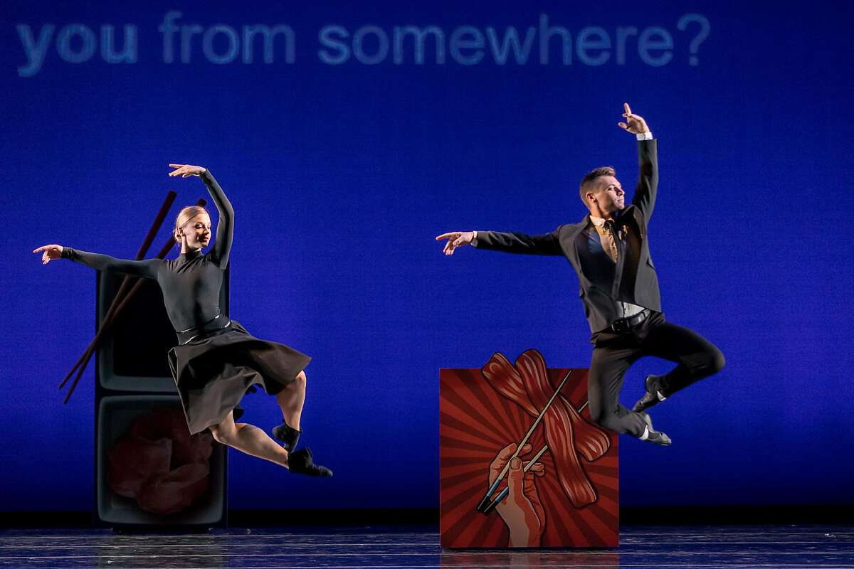 Smuin dancers Tessa Barbour and John Speed Orr are airborne in the world premiere of Val Caniparoli's