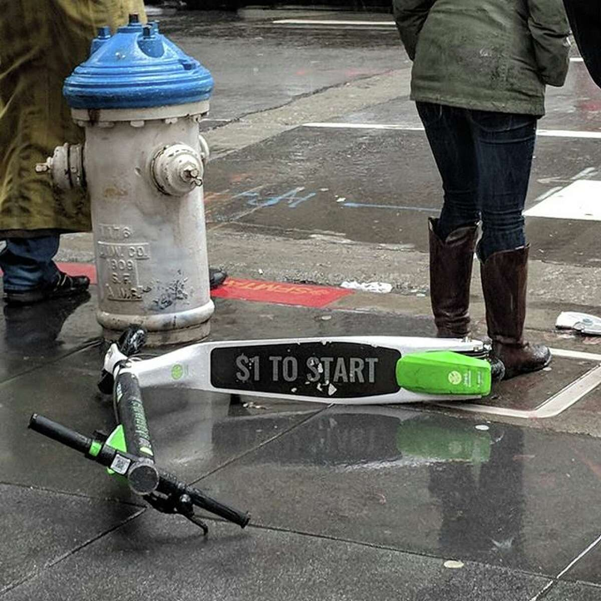 People in San Francisco share photos of badly parked or trashed scooters.