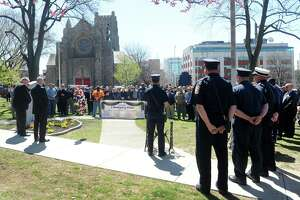 The ceremony marking the 31st anniversary of the collapse of L'Ambiance Plaza was held at city hall in Bridgeport, Conn. on Monday, April 23, 2018. Politicians, family and friends gathered at the monument to remember the 28 workers who died and the rescue workers who helped in the aftermath.