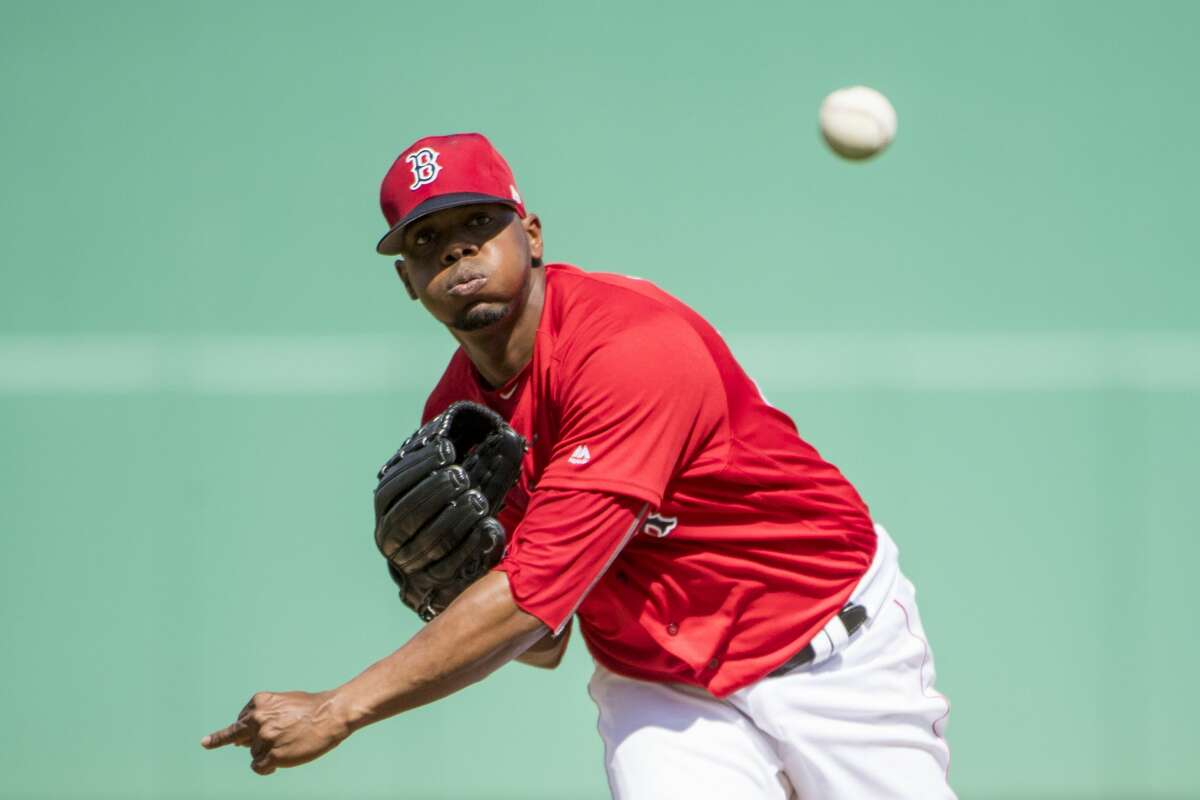 Roenis Elias of the Boston Red Sox pitches during a game against the Tampa Bay Rays at JetBlue Park at Fenway South on February 24, 2018 in Fort Myers, Florida.
