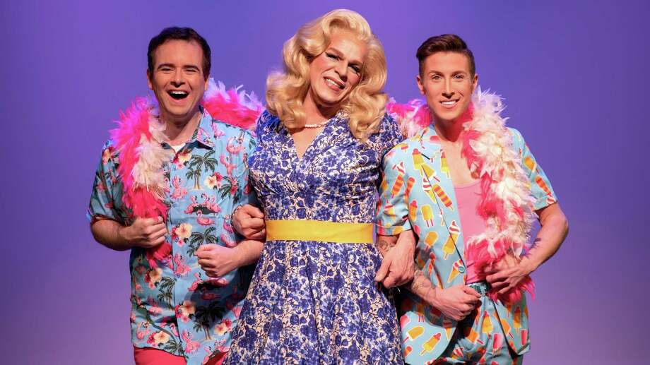 "Headliners in ""Priscilla, Queen of the Desert"" are, from left: Jason Parry as Tick/Mitzi, Lance Anthony as Bernadette and Tim Rinaldi as Adam/Felicia through May 20 at Downtown Cabaret Theatre of Bridgeport. Photo: Kevin McNair Photography / Contributed Photo"