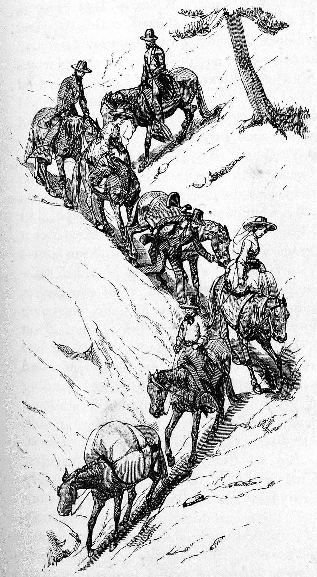 Descending into Yosemite Valley circa 1859.