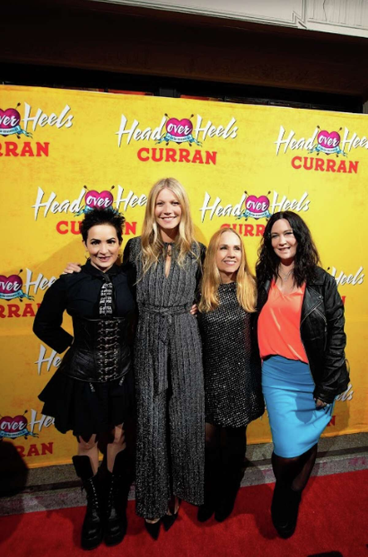 """Gwyneth Paltrow and original members of the Go-Go's, Jane Wiedlin, Charlotte Caffey and Kathy Valentine, attend the premiere of """"Head Over Heels"""" at the Curran Theatre on April 18, 2018 in San Francisco."""
