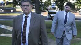 Former Mexican federal prosecutor and director of intelligence for the Mexican state of Jalisco Sergio Adame Ochoa Sr.,66, (left) and his son Sergio Adame Ochoa, Jr. (right) walk to the John H. Wood, Jr. Federal Courthouse Monday April 23, 2018. The senior Adame Ochoa is being sentenced for lying to a bank and the junior Adame Ochoa entered a guilty plea on behalf of Allen Land LP and Allen Management LLC to a single count of conspiracy to launder money.