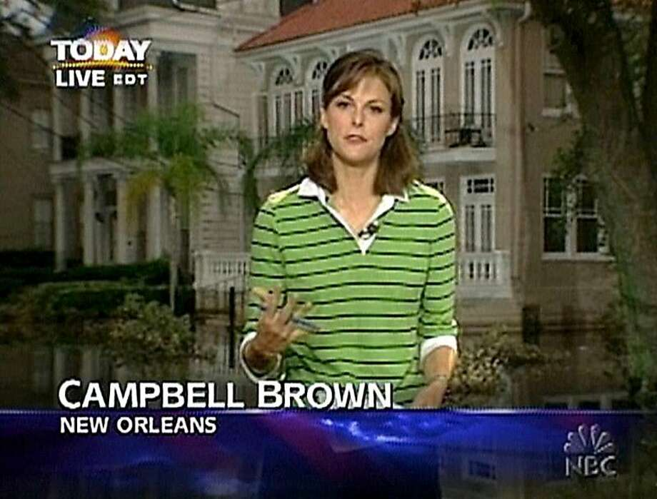 "Campbell Brown reports from New Orleans in the aftermath of 2005's Hurricane Katrina during her time as a ""Weekend"" news anchor at NBC. Photo: NBC Universal 2005"