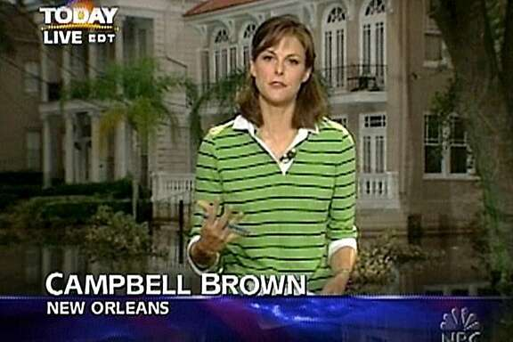 """** FILE **This video image, released by NBC, shows """"Weekend"""" news anchor Campbell Brown reporting from New Orleans in the aftermath of Hurricane Katrina, Sept. 5, 2005. CNN said Monday, July 23, 2007 that it has hired anchor Campbell Brown of NBC News, one day after she announced on """"Weekend Today"""" that she would be leaving as host.  (AP Photo/NBC Universal, ho)"""
