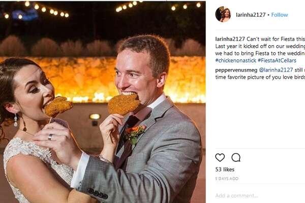 Chicken-on-a-stick wedding     Instagram user  @larinha2127  posted this wedding photo of chicken-on-a-stick toast.