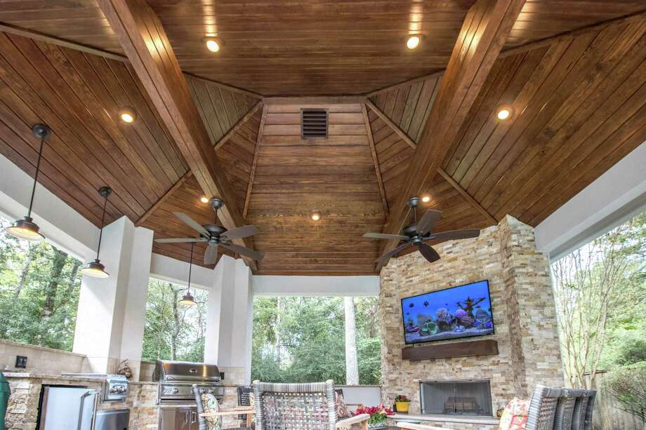 Tim Fox, owner of Texas Remodel Team, said he's seen a rise in popularity of linear fireplaces or some type of fire feature highlighted. Also, on his radar are poolside pavilions and outdoor kitchens. / Michael Shea Photography