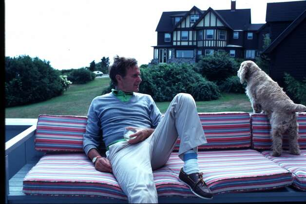 The candidate for vice president, Bush sits with his dog, Fred, in front of his home in September 1980 in Kennebunkport, Maine. Photo: Photo By Cynthia Johnson/Liaison
