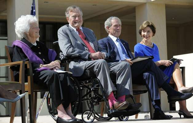 Barbara and George H.W. Bush sit with George W. and Laura Bush during the George W. Bush Presidential Center dedication ceremony April 25, 2013, in Dallas. Photo: JEWEL SAMAD/AFP/Getty Images