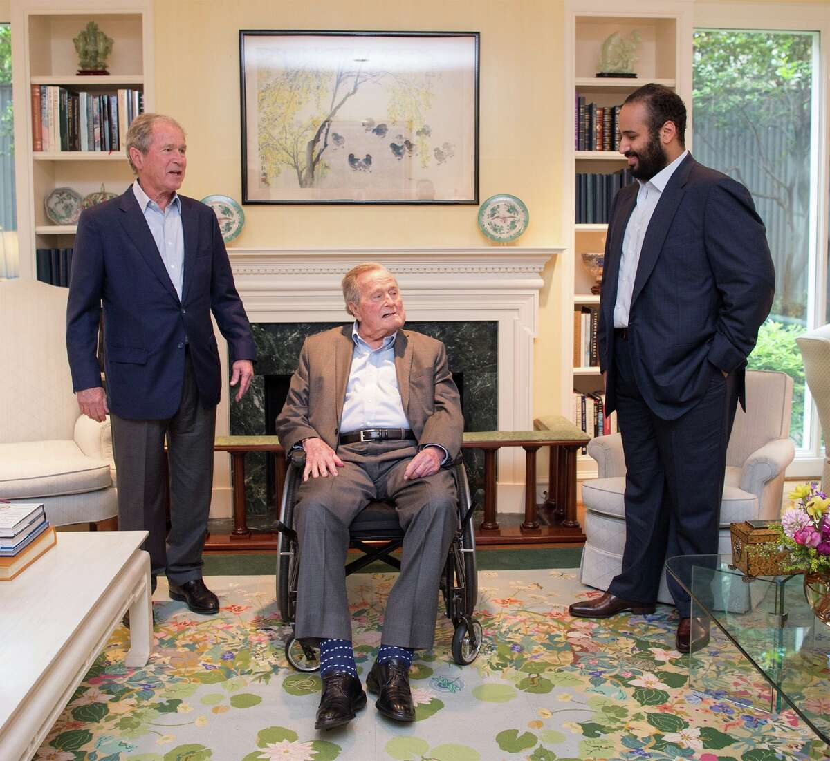 Crown Prince of Saudi Arabia Mohammed bin Salman Al Saud, right, meets with Bush and former President George W. Bush in Houston on April 8, 2018.