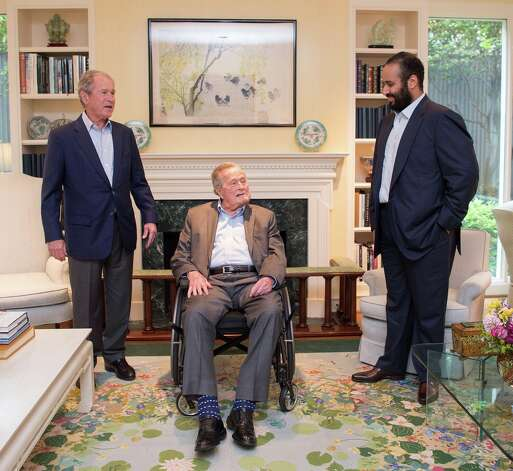 Crown Prince of Saudi Arabia Mohammed bin Salman Al Saud, right, meets with Bush and former President George W. Bush in Houston on April 8, 2018. Photo: Anadolu Agency/Getty Images
