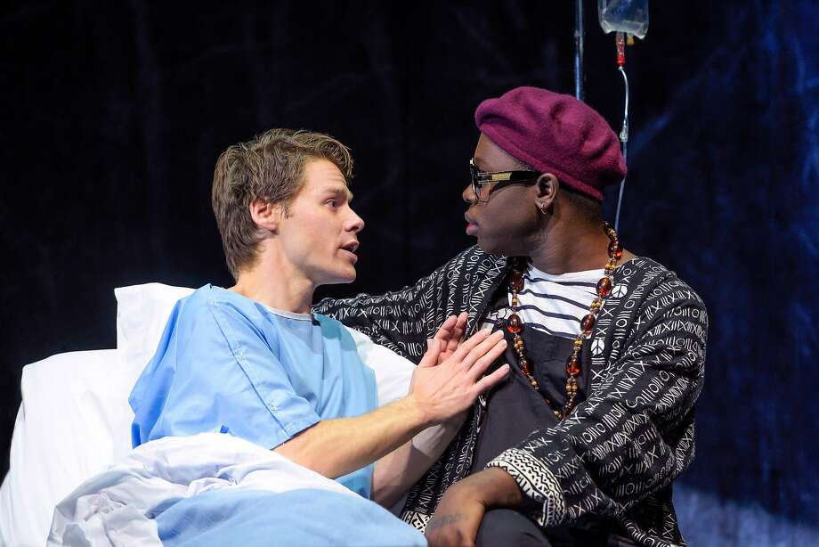 Harrison as Prior Walter (left), the former drag queen dying of AIDS, with Caldwell Tidicue as the nurse Belize. Photo: Kevin Berne / Berkeley Repertory Theatre