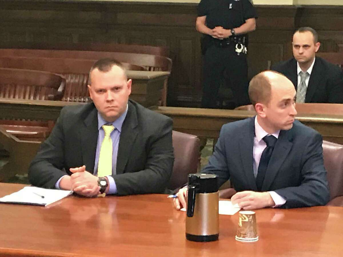 Assistant District Attorney Carl Rosenkranz and Assistant DIstrict Attorney Nick Dorando await the return of a Rensselaer County Court jury which convicted defendant Anthony M. Rickett Monday of first-degree manslaughter in county court.
