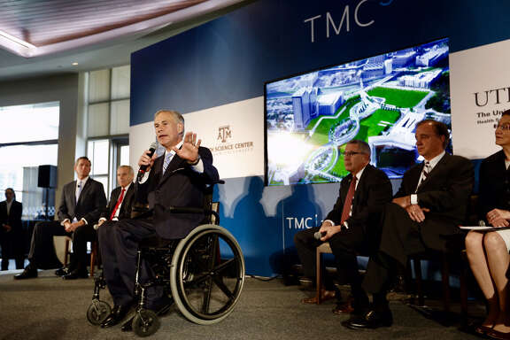 Texas Gov. Greg Abbott announces details of the Texas Medical Center's new research and innovation collaborative campus, TMC3, on Monday, April 23, 2018, in Houston.
