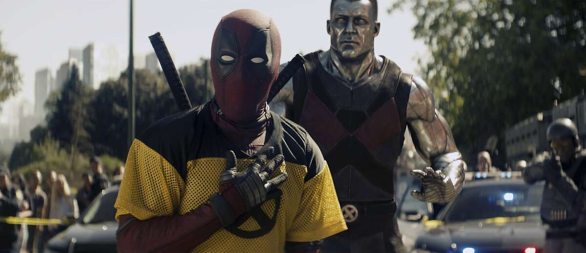 """This image released by 20th Century Fox shows a scene from """"Deadpool 2,"""" premiering on May 18. (20th Century Fox via AP)"""