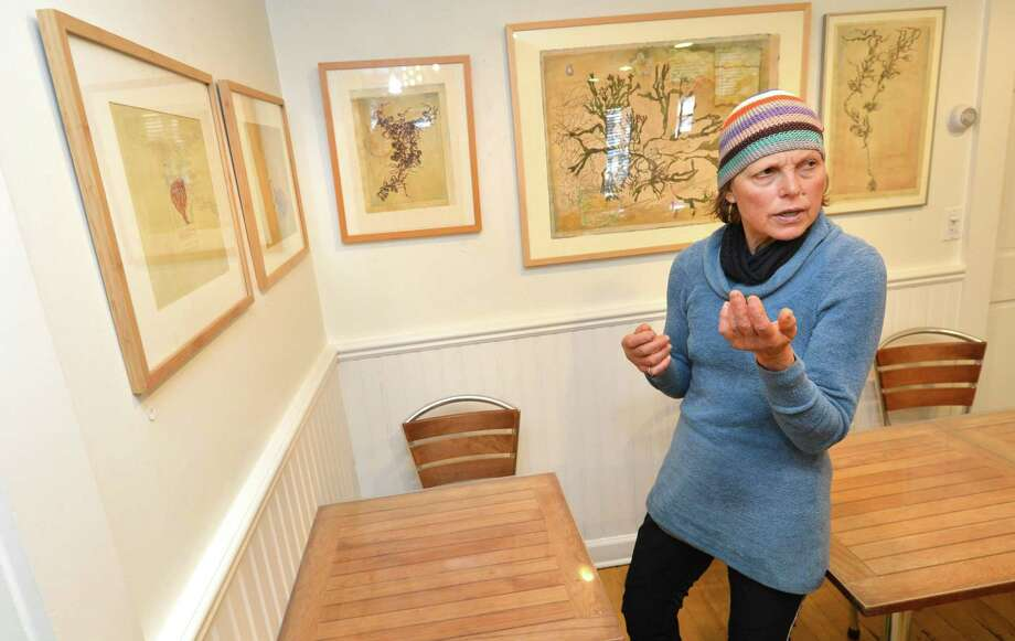 Artist and Norwalk Art Commissioner Lynn Stephens Massey talks about her exhibit of new paintings and mixed media on view at Brendan's 101 reataurant in Rowayton Conn. on Thursday April 19, 2018. The exhibit will pair the paintings with seaweed cuisine prepared by NCC's Jeff Trombetta and poetry by Norwalk poet laureate Laurel Peterson. Photo: Alex Von Kleydorff / Hearst Connecticut Media / Norwalk Hour