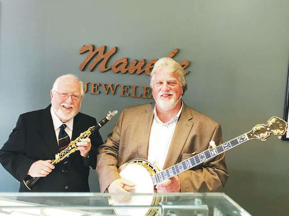 Bud Shultz, left, of the You Can't Experience Jazz Band, and Mike Harman, of The Harman Family Bluegrass Band Photo:       For The Telegraph