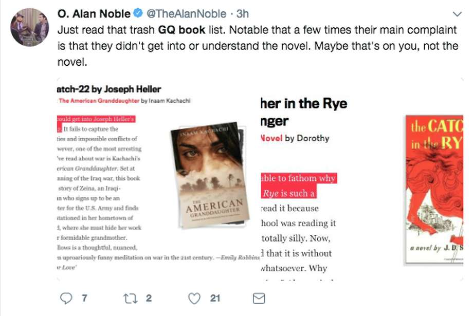 "Social media reacts to GQ's list of ""21 Books You Don't Have to Read."" Photo: Twitter Screen Grab"