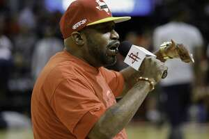 HOUSTON, TX - APRIL 25:Houston rap artist Bun B performs before Game Five of the Western Conference Quarterfinals game of the 2017 NBA Playoffs at Toyota Center on April 25, 2017 in Houston, Texas. NOTE TO USER: User expressly acknowledges and agrees that, by downloading and/or using this photograph, user is consenting to the terms and conditions of the Getty Images License Agreement.  (Photo by Bob Levey/Getty Images)
