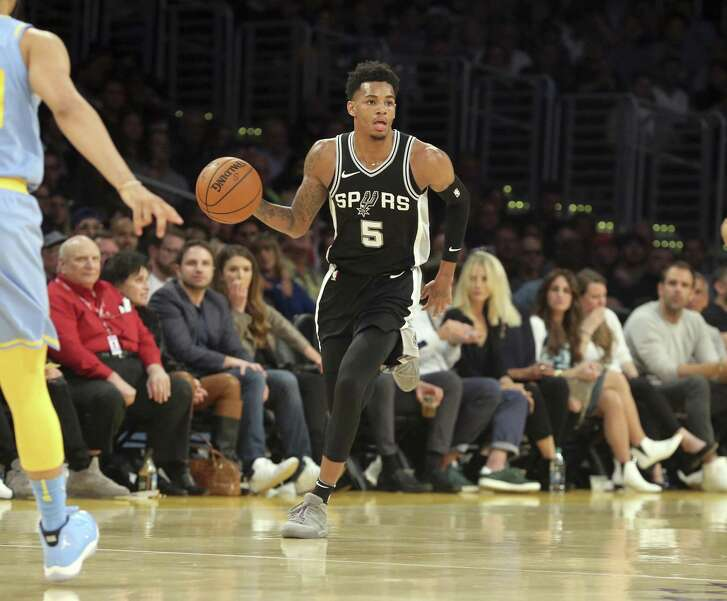 San Antonio Spurs guard Dejounte Murray (5) during the third quarter of an NBA basketball game in Los Angeles Wednesday, April 4, 2018. The Lakers won in overtime 122-112. (AP Photo/Reed Saxon)