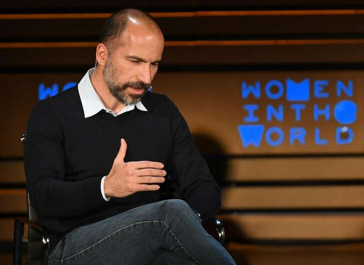 Uber CEO Dara Khosrowshahi speaks onstage during the 2018 Women In The World Summit at Lincoln Center on April 12, 2018 in New York City.  / AFP PHOTO / ANGELA WEISSANGELA WEISS/AFP/Getty Images