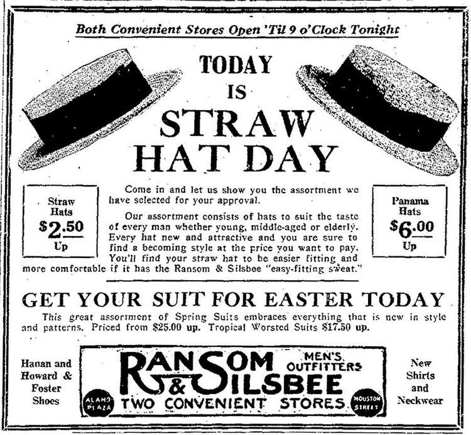 Every day is straw hat day if you're looking to keep a cool head. This ad for straw hats ran in the San Antonio Express in April 1925. Photo: Express-News Archives