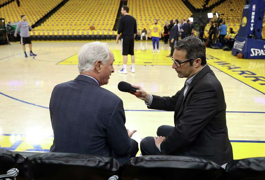 Golden State Warriors' team multimedia producer Laurence Scott interviews ABC7's Mike Schumann before Warriors play San Antonio Spurs in Game 2 of NBA Western Conference Finals in Oakland, Calif., on Tuesday, May 16, 2017. Photo: Scott Strazzante, The Chronicle / **MANDATORY CREDIT FOR PHOTOG AND SF CHRONICLE/NO SALES/MAGS OUT/TV