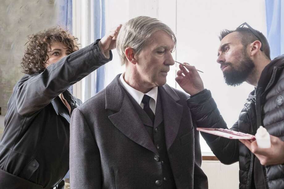 "Makeup artists prepare Antonio Banderas for his role as famous artist Pablo Picasso in National Geographic's second in its series titled ""Genius."" Banderas feels a special connection with the artist: they were both born in the same town in Spain. (Dusan Martin/National Geographic) Photo: Dusan Martincek, HO / TNS / TNS"