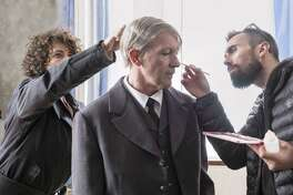 "Makeup artists prepare Antonio Banderas for his role as famous artist Pablo Picasso in National Geographic's second in its series titled ""Genius."" Banderas feels a special connection with the artist: they were both born in the same town in Spain. (Dusan Martin/National Geographic)"