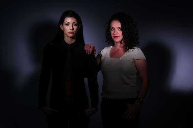 Rachel Sutton (left) stands for a portrait with a woman who preffered not to use her name (right) at the San Francisco Chronicle studio in San Francisco, California, on Thursday, April 19, 2018.