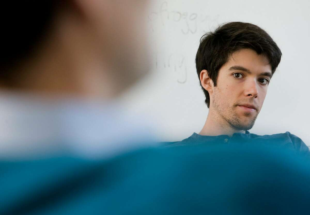 Daniel Swain a PhD candidate in the Department of Environmental Earth System Science at Stanford University listens to a presentation by Dr. Noah Deffenbaugh during a lab meeting at Stanford University in Palo Alto, Calif. on Tues. April 14, 2015.
