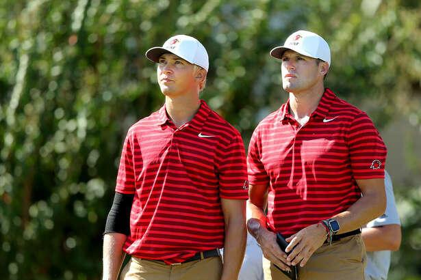 Juho Kurikka and coach Jessie Mudd, Lamar University men's golf. (Photo provided by Lamar Athletics)
