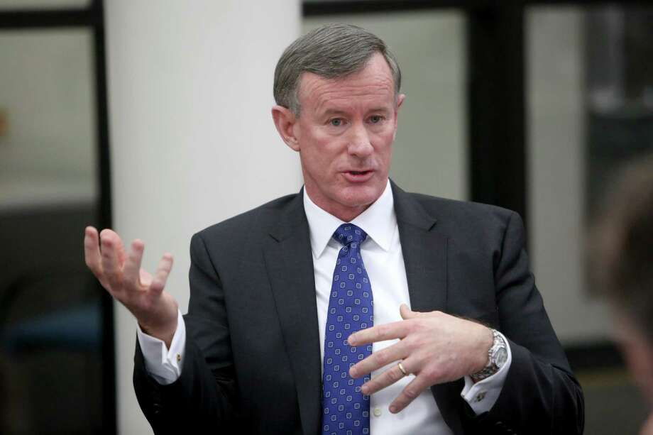 William McRaven, the chancellor of the UT System, announced he would step down by the end of academic year. McRaven was criticized for the 300-acre land purchase in Houston. He cited health reasons for his departure.systems meets with the Chronicle's editorial board at the Houston Chronicle Monday, Jan. 12, 2015, in Houston, Texas. Photo: Gary Coronado, Staff / Houston Chronicle / Stratford Booster Club