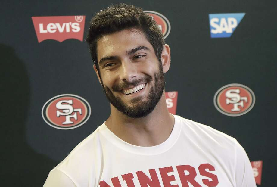San Francisco 49ers quarterback Jimmy Garoppolo speaks to reporters at the team's football facility in Santa Clara, Calif., Monday, April 23, 2018.  Photo: Jeff Chiu / Associated Press