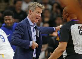 SAN ANTONIO,TX - APRIL 22 :  Head coach Steve Kerr of the Golden State Warriors argues a call with official Tony Brothers In the second half of Game Four of Round One of the 2018 NBA Playoffs  at AT&T Center on April 22 , 2018  in San Antonio, Texas.  NOTE TO USER: User expressly acknowledges and agrees that , by downloading and or using this photograph, User is consenting to the terms and conditions of the Getty Images License Agreement. (Photo by Ronald Cortes/Getty Images)