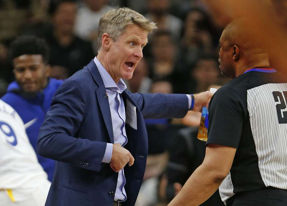 SAN ANTONIO,TX - APRIL 22 :  Head coach Steve Kerr of the Golden State Warriors argues a call with official Tony Brothers In the second half of Game Four of Round One of the 2018 NBA Playoffs  at AT&T Center on April 22 , 2018  in San Antonio, Texas.  NOTE TO USER: User expressly acknowledges and agrees that , by downloading and or using this photograph, User is consenting to the terms and conditions of the Getty Images License Agreement. (Photo by Ronald Cortes/Getty Images) Photo: Ronald Cortes / Getty Images
