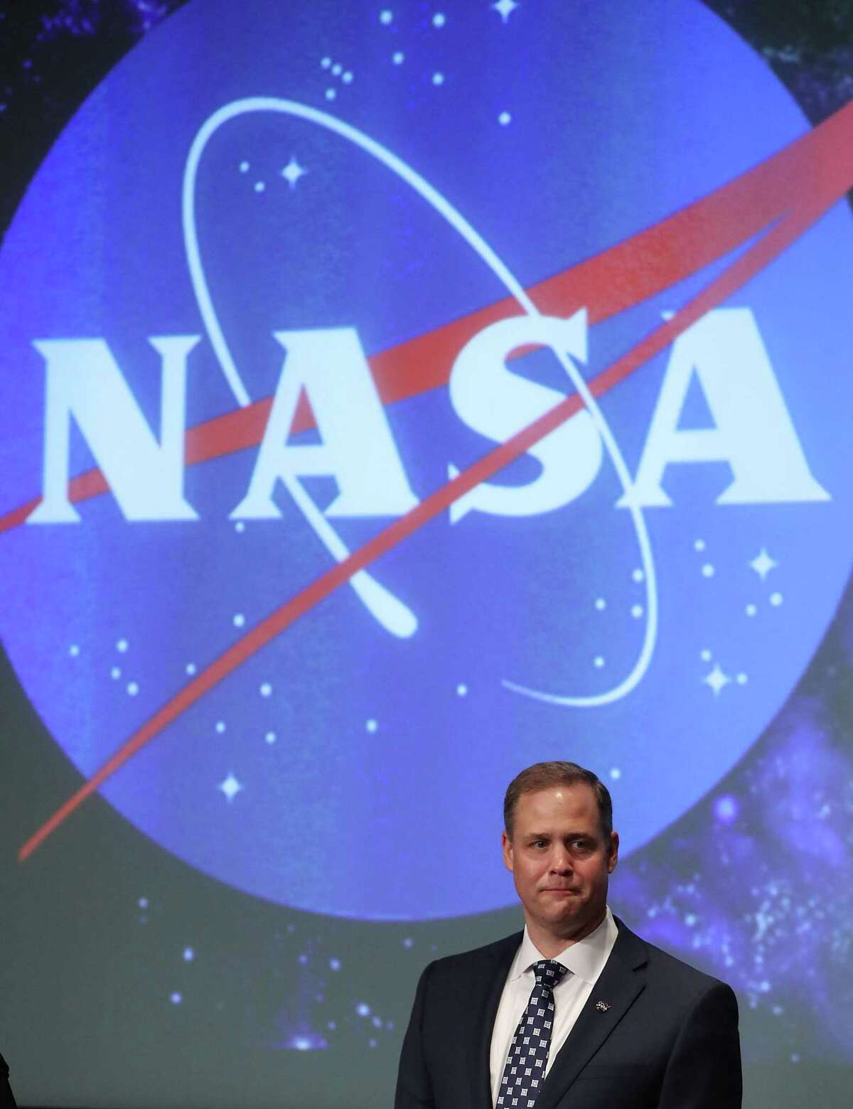 Jim Bridenstine speaks after he was sworn in as NASA's new administrator by Vice President Mike Pence, during a ceremonial swearing in, at NASA Headquarters on April 23, 2018 in Washington, DC.