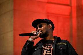 The RZA has a conversation with writer and critic Jeff Chang in stage during a launch party for the clothing line, 36 Chambers, at the Asian Art Museum in San Francisco, Calif., on Thursday September 21, 2017.