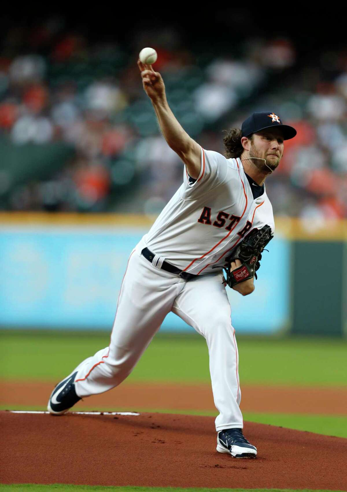 Houston Astros starting pitcher Gerrit Cole (45) pitches during the first inning of an MLB game at Minute Maid Park, Monday, April 23, 2018, in Houston.