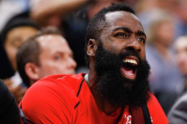 Houston Rockets guard James Harden yells from the bench as the Houston Rockets take on the Minnesota Timberwolves during the first half of Game 4 of the first round of the NBA Playoffs at Target Center Monday, April 23, 2018 in Minneapolis.