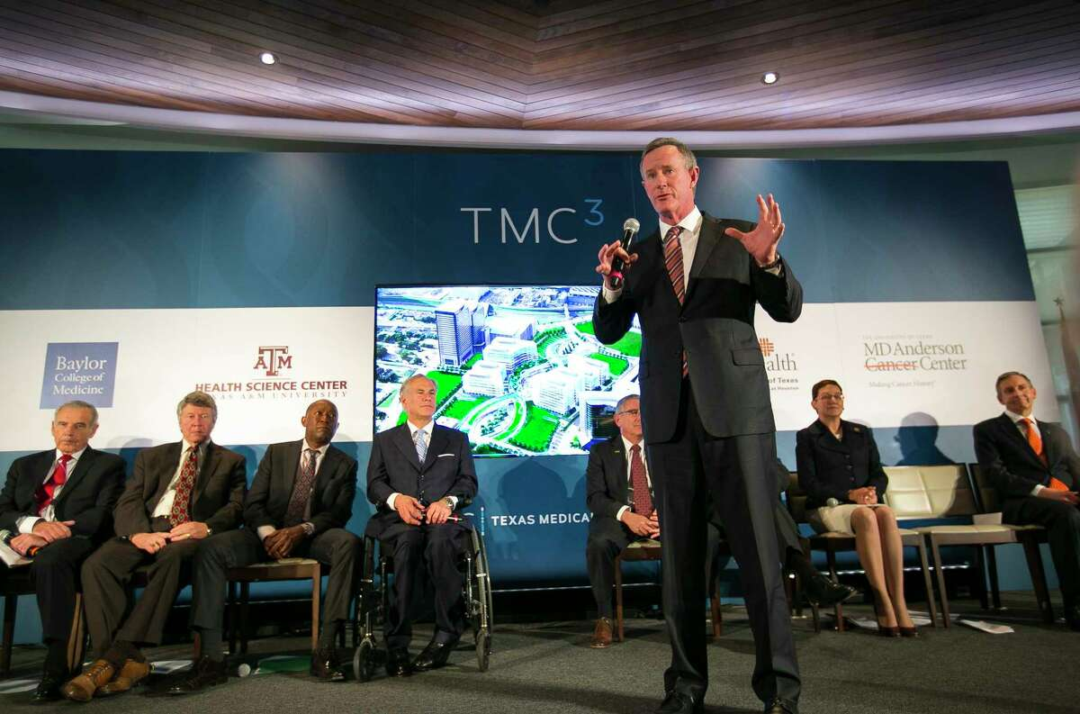 University of Texas System Chancellor William McRaven speaks during a press conference announcing plans by the Texas Medical Center, along with the Baylor College of Medicine, Texas A&M University, the University of Texas and M.D. Anderson Cancer Center, to build a research and innovation campus on land just south of S. Braeswood Blvd. and north of Old Spanish Trail, Monday, April 23, 2018, in Houston.