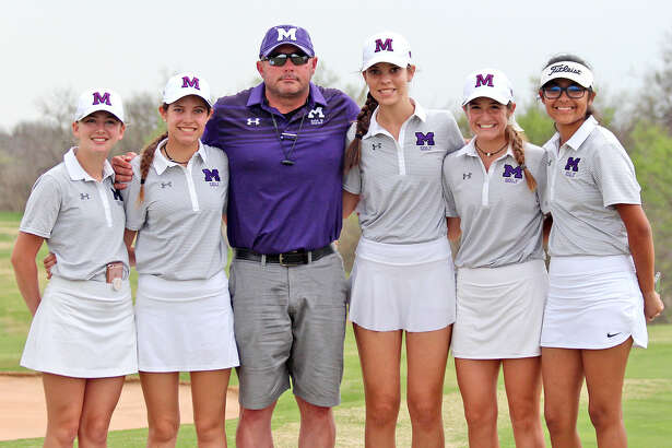 Midland High golf team members from left, Mackenzie Chandler, Mikayla Childers, coach Bryan Sledge, KellyAnne Hernandez, Faith DeLaGarza, and Anaya Perales. Photo courtesy of Joye Lewis