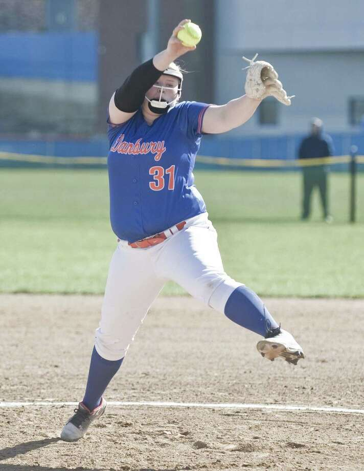 Danbury High School's Elizabeth Croxford-Brock delivers a pitch during a game against St. Joseph High School, played at Danbury. Monday, April 23, 2018 Photo: Scott Mullin / For Hearst Connecticut Media / The News-Times Freelance