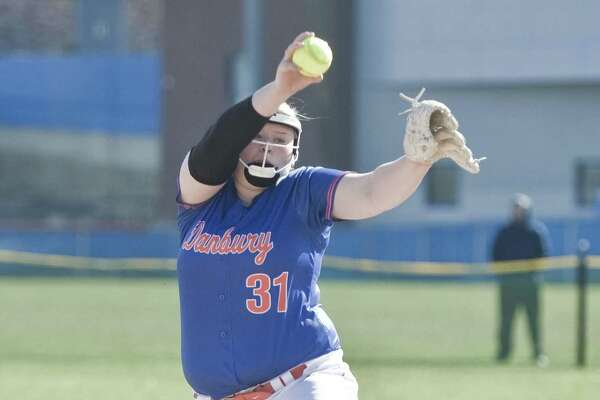 Danbury High School's Elizabeth Croxford-Brock delivers a pitch during a game against St. Joseph High School, played at Danbury. Monday, April 23, 2018