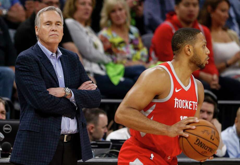 Houston Rockets head coach Mike D'Antoni stands by as he watches guard Eric Gordon (10) bring the ball up the court against the Minnesota Timberwolves during the second half of Game 4 of the first round of the NBA Playoffs at Target Center Monday, April 23, 2018 in Minneapolis. Photo: Michael Ciaglo, Houston Chronicle / Michael Ciaglo