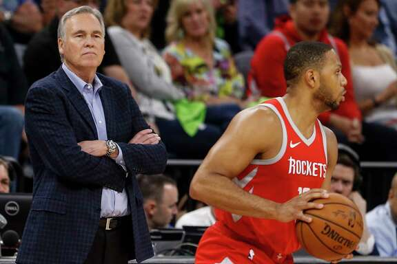 Houston Rockets head coach Mike D'Antoni stands by as he watches guard Eric Gordon (10) bring the ball up the court against the Minnesota Timberwolves during the second half of Game 4 of the first round of the NBA Playoffs at Target Center Monday, April 23, 2018 in Minneapolis.