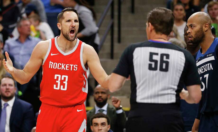 Houston Rockets forward Ryan Anderson (33) argues a call with referee Mark Ayotte (56) during the first half of Game 4 of the first round of the NBA Playoffs against the Minnesota Timberwolves at Target Center Monday, April 23, 2018 in Minneapolis. Photo: Michael Ciaglo, Houston Chronicle / Michael Ciaglo